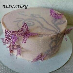 Image 5 - Içi boş kelebek Çiçek Dantel Kalıp Kek sınır Dekorasyon araçları Fondan Kek 3D Kalıp Gıda Sınıfı Silikon mat Kalıp D0360