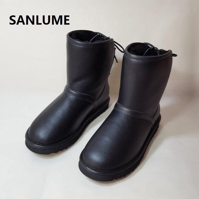 Schuhe Erfinderisch Sanlume Frauen Winter Schaffell Leder Schnee Stiefel 100% Echt Schafe Pelz Stiefel Schwarz Grau Wasserdichte Stiefel Größe 41