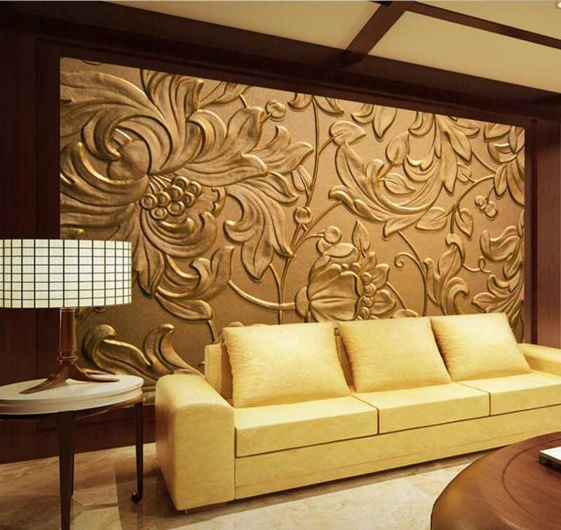 Wallpaper Luxury Wall Coverings Gold Wallpaper Abstract Daisy Chrysanthemum Home Design Living Room Sitting Room Design Study