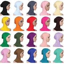 Mềm Mại Dưới Khăn Mũ Xương Nắp Kiềng Hijab Hồi Giáo Đầu Đeo Cổ Che Phủ Toàn Bộ Bên Trong Hồi Giáo Nữ Thun Ninja Nữ mũ Nón Lưỡi Trai