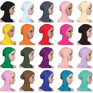 Image 1 - Zachte Onder Sjaal Hoed Cap Bone Motorkap Hijab Islamitische Hoofd Slijtage Hals Volledige Cover Inner Moslim Dame Elastische Ninja Vrouwen hoofddeksels Caps