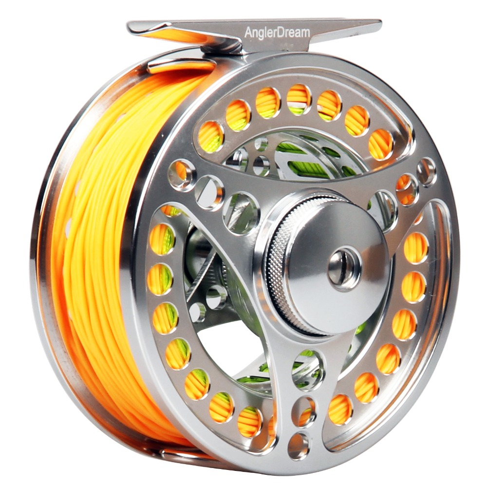 3/4 5/6 7/8WT CNC Machined Fly Reel and Line Combo Silver Large Arbor Aluminum Fly Fishing Reel Backing Line Leader Loop