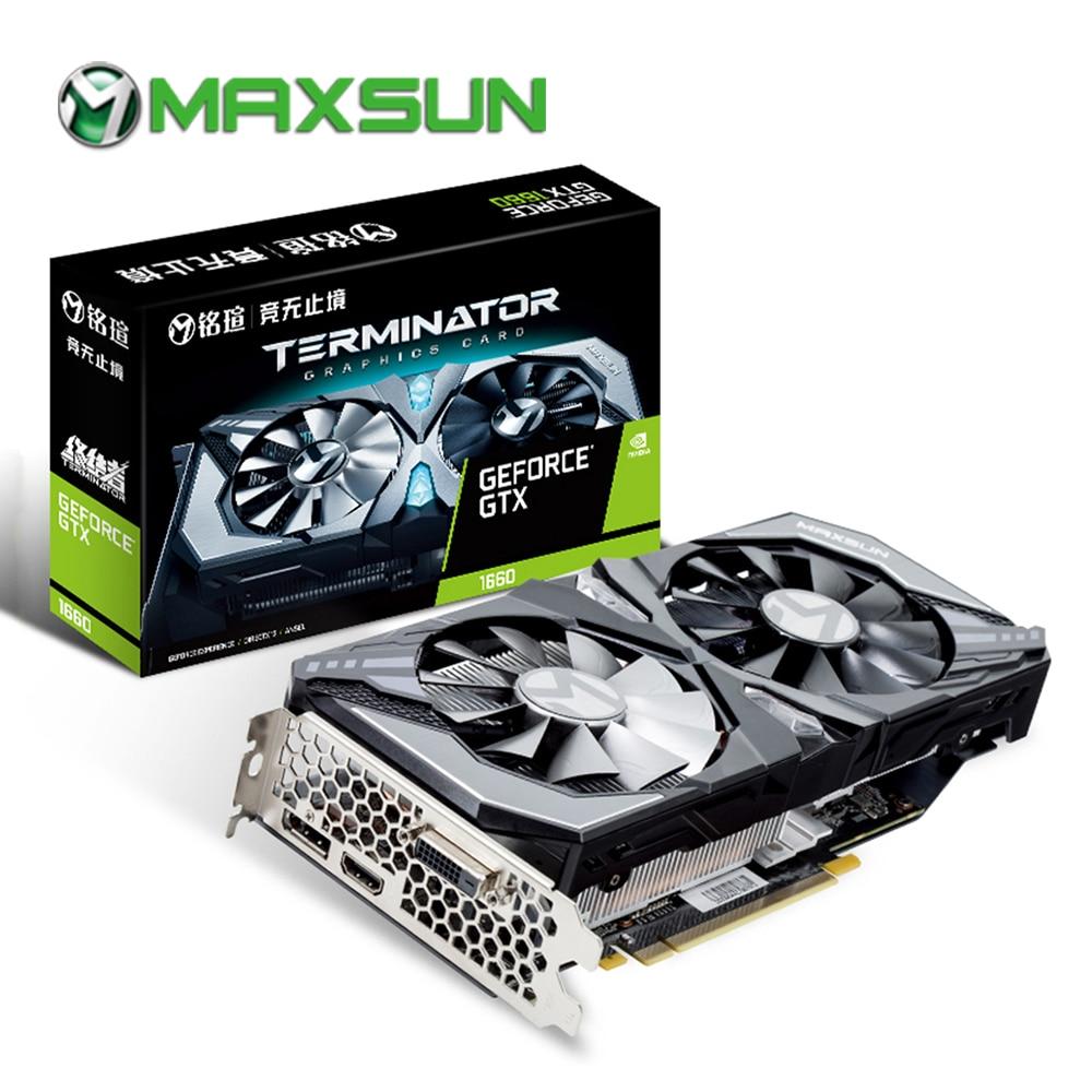 MAXSUN Graphics Card GTX 1660 Terminator 6G 192bit NVIDIA GDDR5 8000MHz 1530-1785MHz HDMI+DP+DVI Desktop Video Card For Gaming