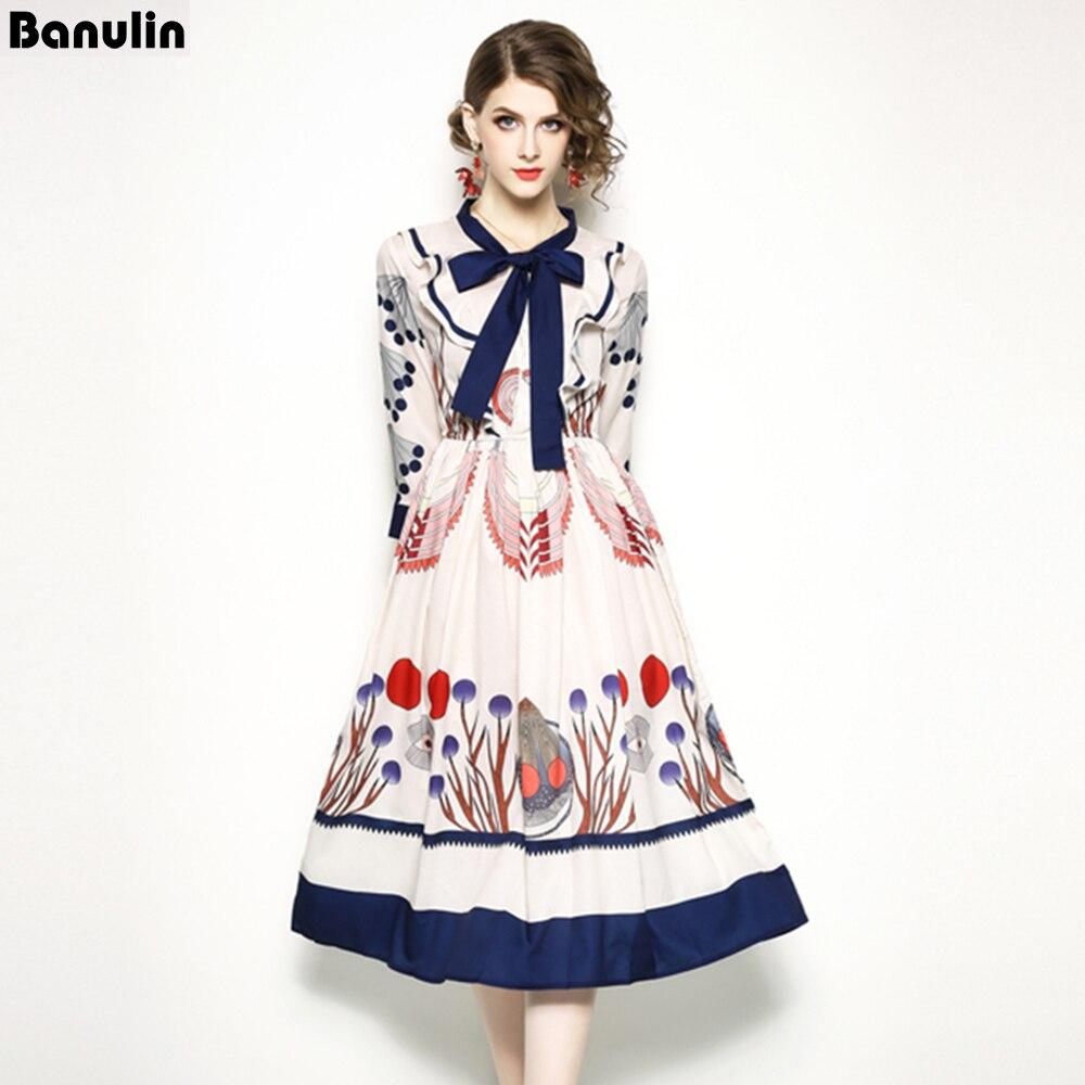 Banulin 2018 Summer Runway Dress Women's High Quality Long Sleeves Bow Collar Baroque Printing Casual Pink Dress Party Vestido