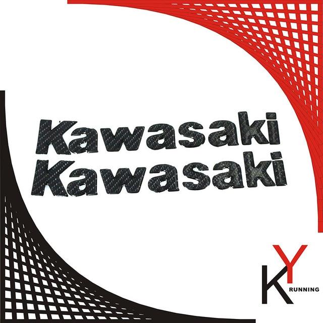 Schwarz Carbon Motorrad Emblem Abzeichen Aufkleber 3D Tank Rad Logo Kawasaki Fur ALLE