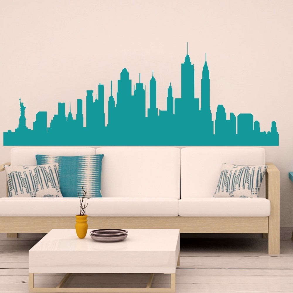 Wall decal new york city nyc skyline cityscape travel vacation wall decal new york city nyc skyline cityscape travel vacation destination 3d wall sticker art wall graphic mural 27h x73w in wall stickers from home amipublicfo Images