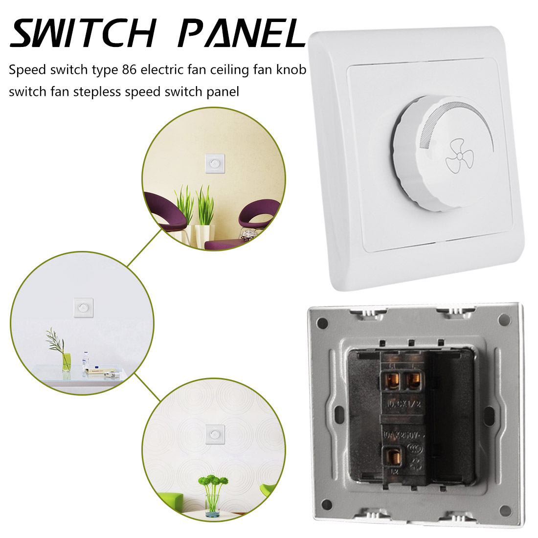 White AC 220V 10A  Dimmer Light Switch Adjustment Light Control Ceiling Fan Speed Control Switch Wall Button  Switch