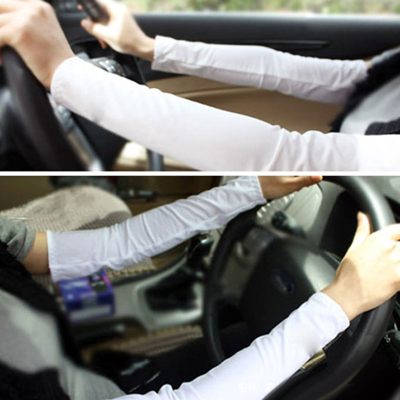 Fashion 1 Pair White Sport Golf Fishing Cooling Arm Sleeve Cover UV Sun Protection Sleeves GM