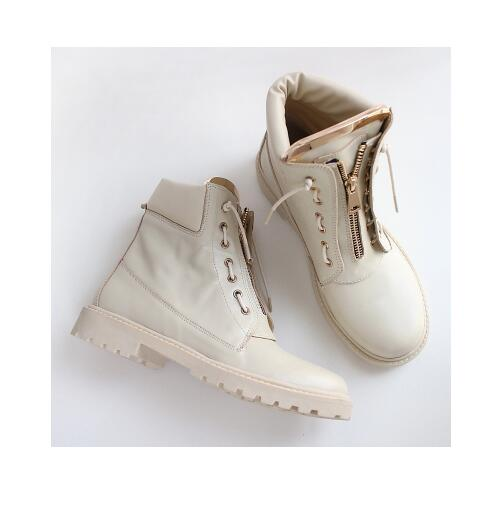 Fashion Round Toe Ankle Boots Lace up Woman Shoes Motorcycle high quality Metal Decoration female boots front lace up casual ankle boots autumn vintage brown new booties flat genuine leather suede shoes round toe fall female fashion