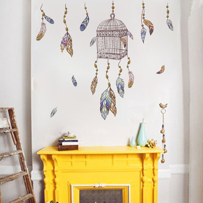 US $0.66 31% OFF|Flying Feathers Birdcage Pattern Wall Stickers For Living  Room Bedroom Decorations DIY Home Decorative Decals PVC Decor Wall Art-in  ...