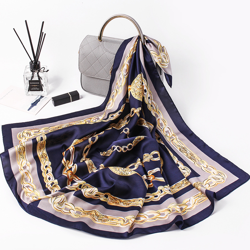 Silk Square   Scarf   Women Luxury Spain Gharry Chain Print   Scarves  &  Wraps   Brand Hijab Foulard Bandana Big Neckerchief FJ086