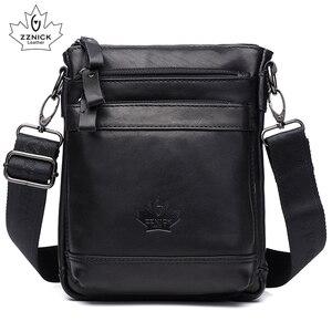 Image 2 - Genuine Leather Bag Handbag Shoulder Mens Bag Small Messenger Leather Crossbody Men Bags 2019 Male Flap Zipper Handbag ZZNICK