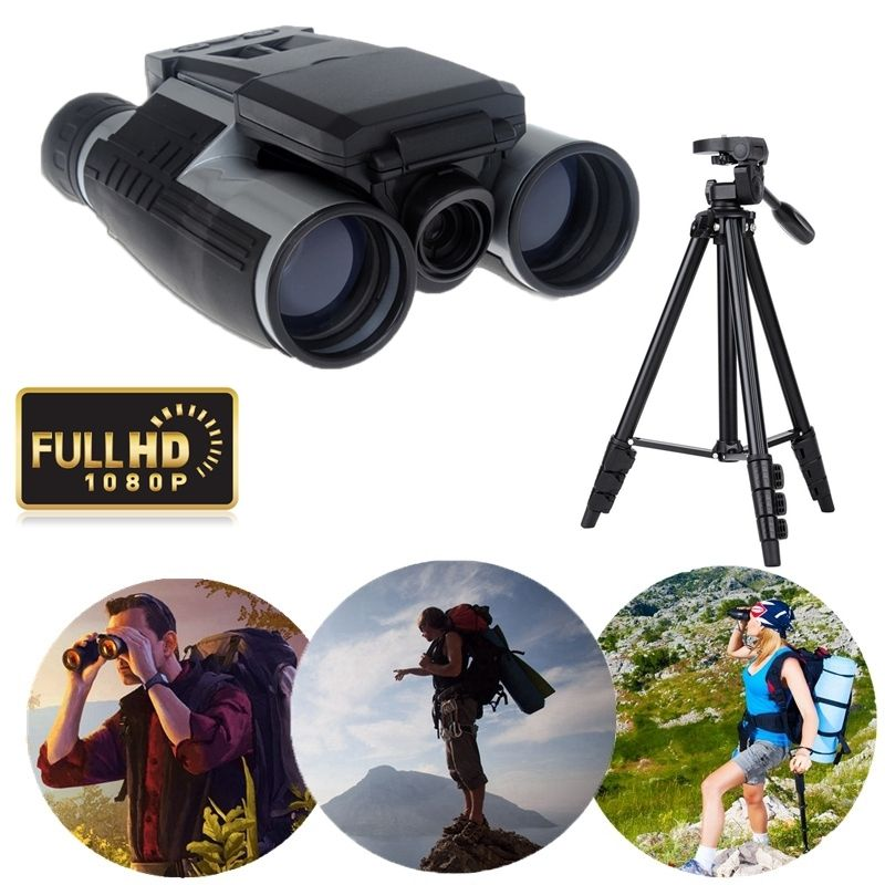 Professional Outdoor Sports Eyepiece Telescope 2 LCD Full HD1080P Video Recording 12X32 Zoom Digital Binocular Camera+Tripod 2 lcd screen cmos hd 720p usb digital binocular telescope 96m 1000m zoom telescopio dvr binoculars photo camera video recording