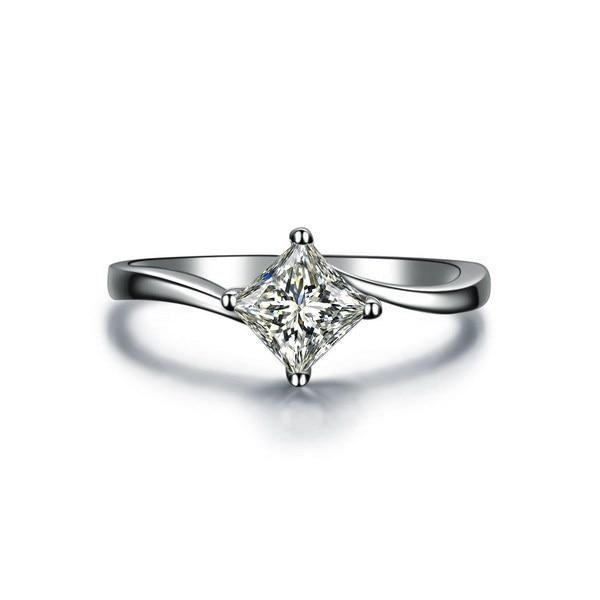 1ct Princess Cut Lab Grown Simulate Diamond 14k White Gold Rings