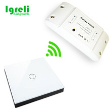 Wireless remote control switch lamp free stickers 250V single open ceiling wall panel free wiring can pass through the wall(China)