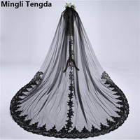 Mingli Tengda One Layers 3M*3M Black Wedding Veil Lace Edge Cathedral Veil Elegant Soft Bridal Veils with Comb voile de mariee
