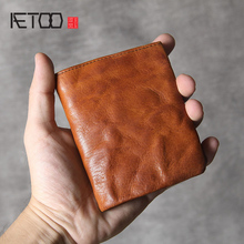 AETOO Simple retro head cowhide short small wallet men and women handmade leather ultra-thin clips