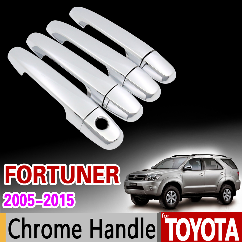 for Toyota Fortuner 2005 - 2015 Chrome Handle Cover Trim Set AN50 AN60 2006 2008 2010 2012 2014 Accessories Stickers Car Styling for toyota prado j150 2014 2015 abs interior accessories door handle armrest air vent outlet reading lamp cover trims 17pcs set