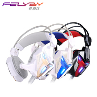 FELYBY new listing G3100 vibration function computer game headset microphone stereo bass LED lights for PC players