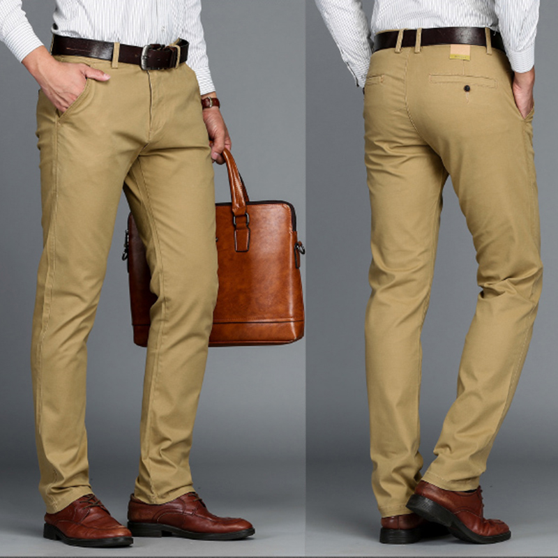 5bc57c0a VOMINT Mens Pants High Quality Cotton Casual Pants Stretch male trousers  man long Straight 4 color Plus size pant suit 42 44 46