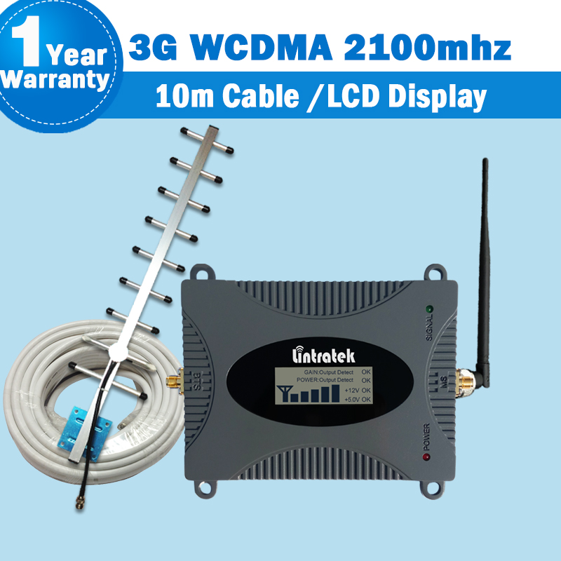 Lintratek 3G repetidor amplificador WCDMA 2100 MHz señal Booster 2100 LTE banda 1 con pantalla LCD señal del teléfono móvil repetidor kit55