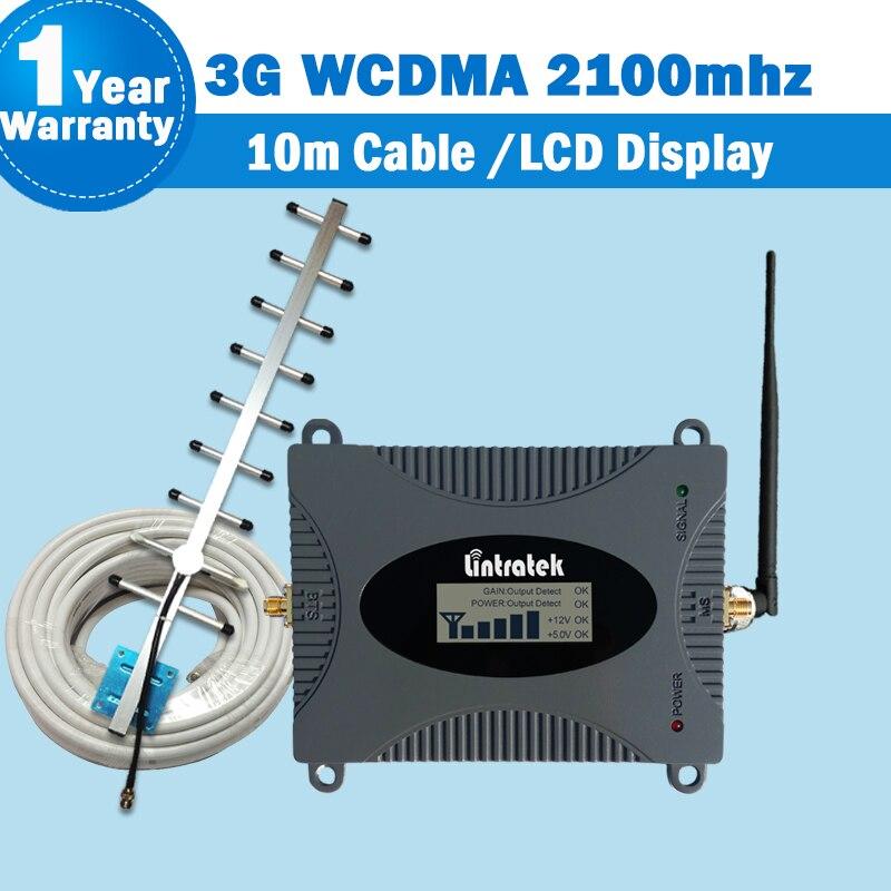 Amplificateur répéteur Lintratek 3G amplificateur de Signal WCDMA 2100 MHz 2100 LTE bande 1 avec affichage LCD répéteur de Signal de téléphone portable kit55