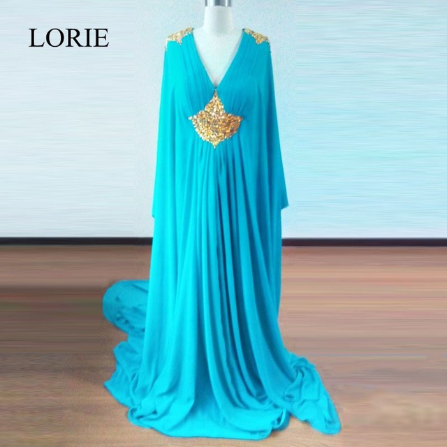 Turquoise Long Sleeve Muslim Evening Dress 2018 Plus Size Abendkleider Moroccan Caftan Gold Crystal Prom Dresses to Party