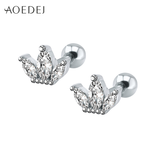 Aoedej Rhinestone Crown Earrings Studs For Women Stainless Steel Cz Crystal S Fashion Jewelry Aros