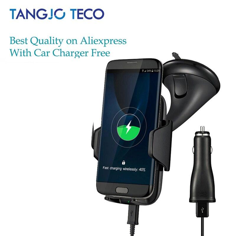 Multi-Funtion Qi Wireless Caricabatteria Da Auto Supporto Del Supporto Del Telefono di Ricarica Veloce Per Samsung Galaxy Note5 S6 S7 S8 Bordo più iPhone8 Più