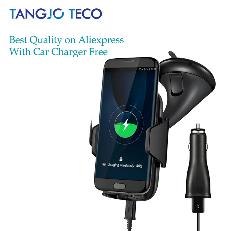 Multi-funtion Qi inalámbrico Car Charger Mount Holder teléfono carga rápida para Samsung Galaxy Note5 S6 S7 S8 borde más iPhone8 más
