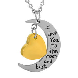 Necklace Stainless-Steel Cremation-Pendant Heart-Urn Ashes Gold Small Moon with