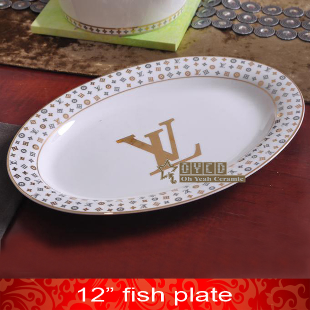 Porcelain fish plates bone china \ VL\  letter design outline in gold oval shape 12 & Porcelain fish plates bone china \