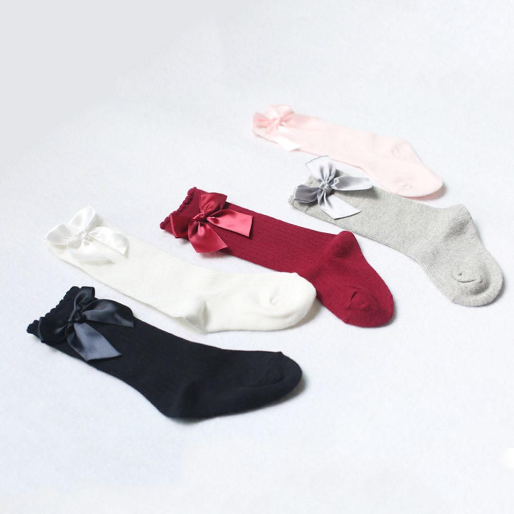 Baby Girls Socks Knee High With Bows Princess Socks Girl