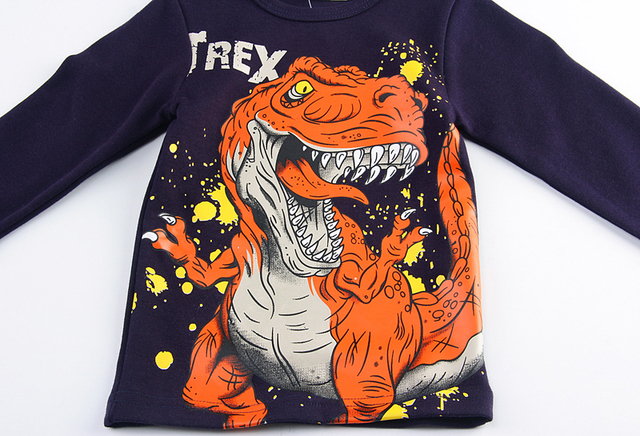 SAILEROAD Big Mouth Dinosaur Boys Long Sleeve T Shirt Autumn Toddler Baby Top Clothes for Children Full Shirts Child Clothing