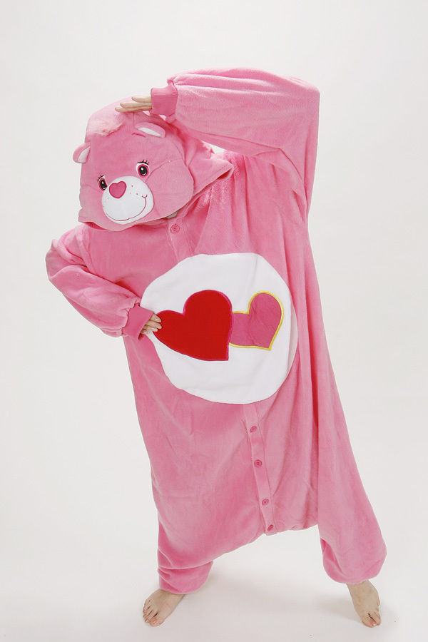 New Fashion Cartoon Anime Animal HEART BEAR Care Bears Pink Adult Unisex Onesies Cosplay Pajamas Winter Halloween Party Costumes