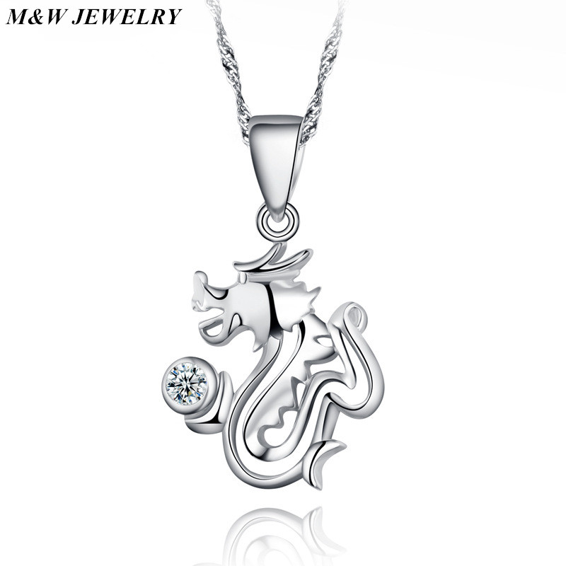 M&W JEWELRY 2017 New Hot Men Vintage Love Monster Dragon 925 sterling silver Necklace Pendant Bijoux For Women Jewelry Cheap