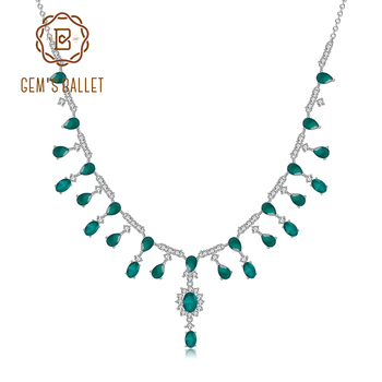GEM'S BALLET 14.6Ct Natural Green Agate Gemstones Y-Necklace 925 Sterling Silver Wedding Bridal Necklace For Women Fine Jewelry