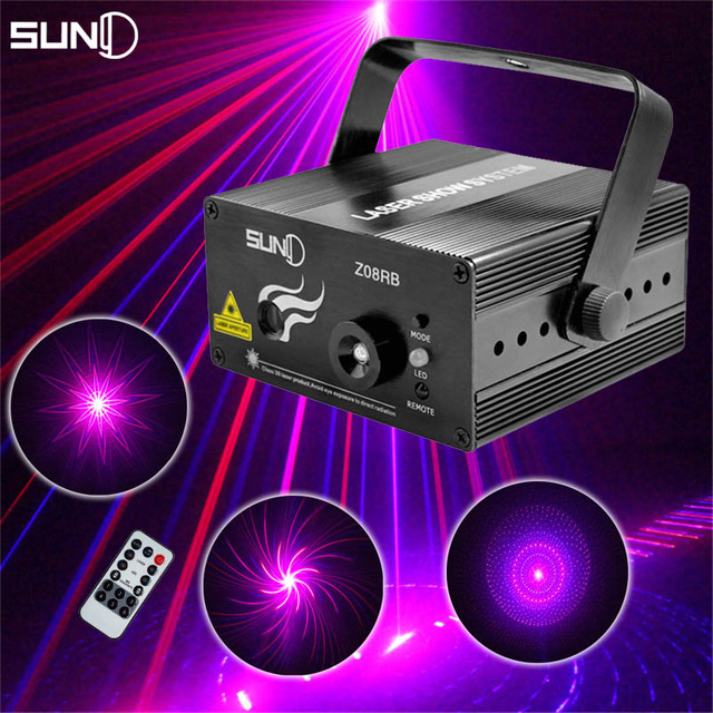 ФОТО SUNY Red Blue 8 Gobo Mini Laser Light Projector Sound System Equipment DJ Disco Stage Lighting Effect Party Xmas Holiday Lights