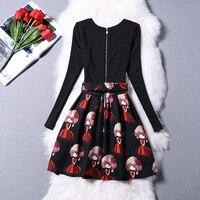 Girls Summer Full Printed Black Dresses Children Outfit Clothing For 6 7 8 9 10 11