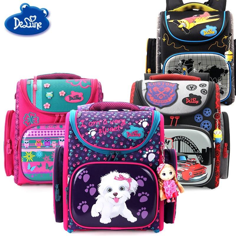 2018 Delune Brand Primary Grade 1-3 Kids Cute Cartoon Dog Owl Car School bag Children Girls Boys Orthopedic School Backpack Bag