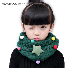 New Girl Winter Collar Ring Scarf for Children Knitted Collar With Children's Scarves Neckerchief Clothing Star accessories 2017
