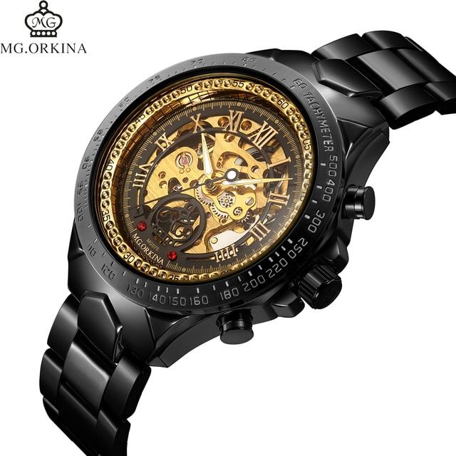 Relogio masculino orkina hombres reloj mecánico esquelético automático de  acero inoxidable reloj de marca de lujo 630e669a8fbe