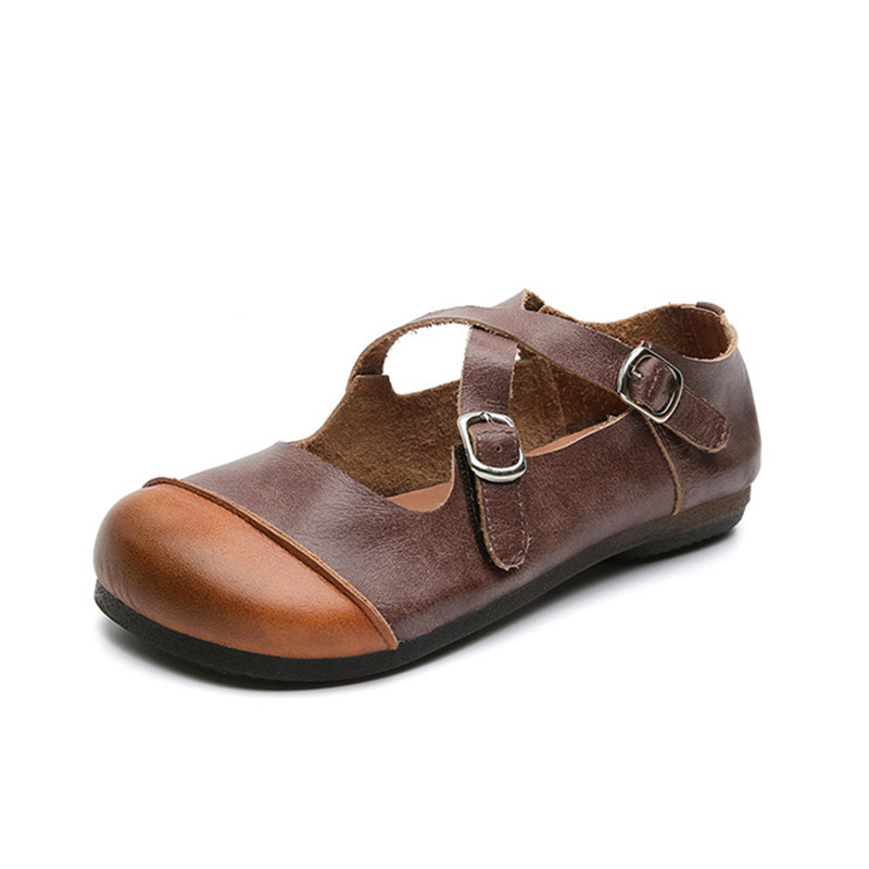 Hot sale Casual Retro Genuine Leather women flat singles shoes Spring summer new handmade Pregnant woman shoes Comfortable soft in Women 39 s Flats from Shoes