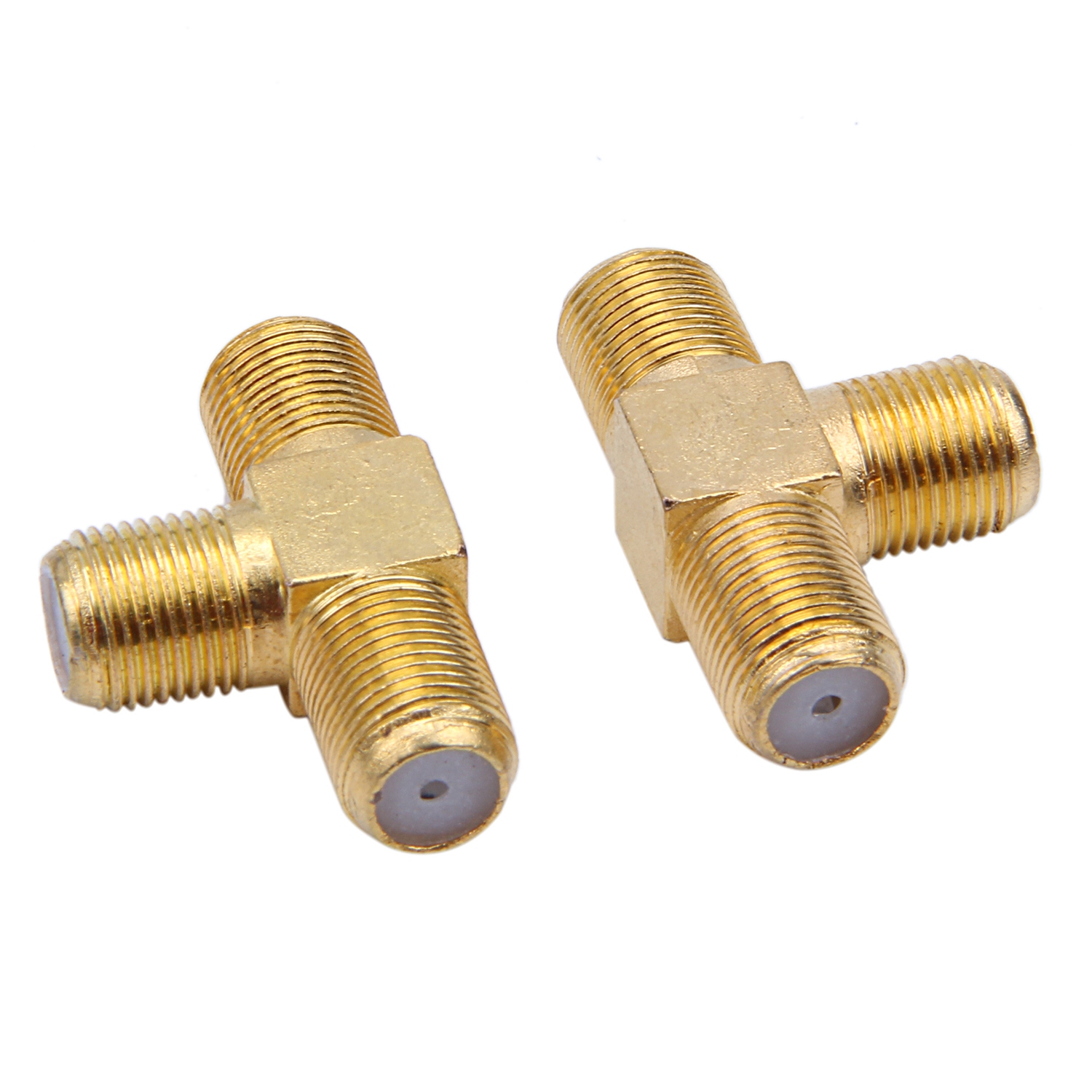 SODIAL(R) 2pcs F Female To Two F Female Jack Triple T RF Adapter Connector 3 Way Splitter