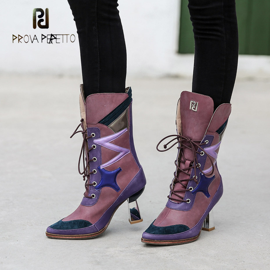 Prova Perfetto mixed color genuine leather lace up martin boots fashion pointed toe strange heel cross tied women chelsea boots цена 2017