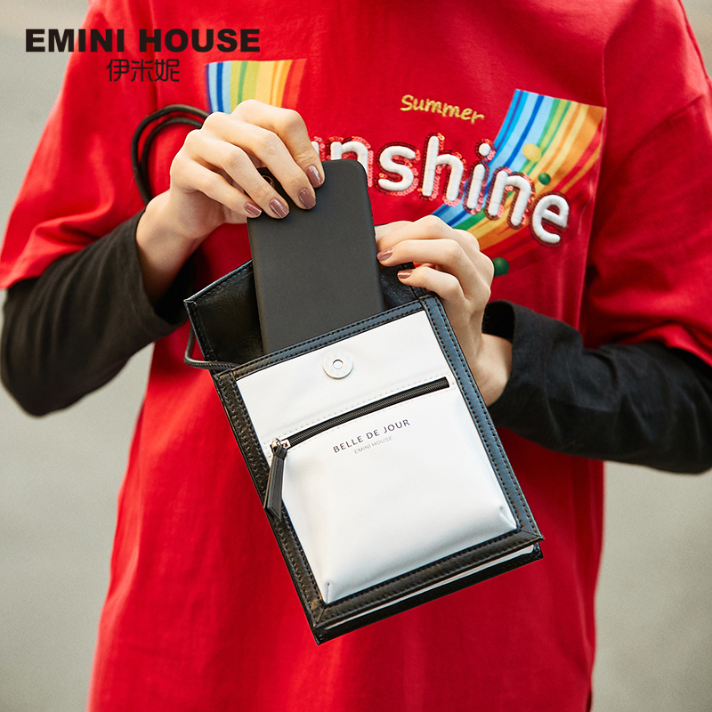 EMINI HOUSELetter Element Oil Wax Leather Phone Bag Luxury Handbags Women Bags Designer Crossbody Bags For