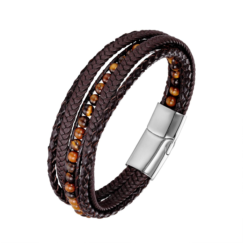 Bracelets en cuir 4MM yeux de tigre Bracelets d'enveloppement en pierre tissé multicouche Bracelet Boho bijoux faits à la main fermoir magnétique en acier