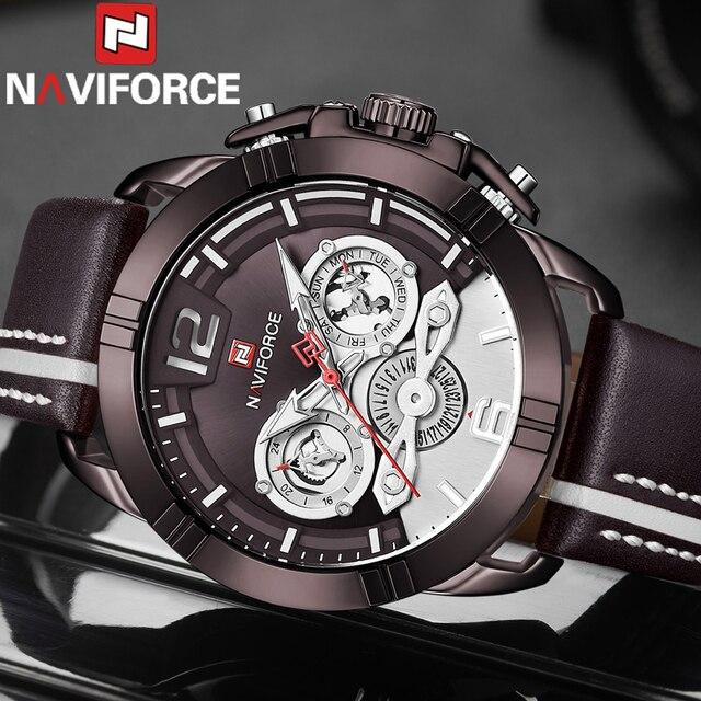 NAVIFORCE Mannen Horloge Sport Militaire Waterdicht Man Horloge Leger Business Kalender Lederen Band Quartz Mannelijke Klok 9168
