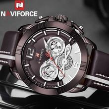 NAVIFORCE hommes montre bracelet Sport militaire étanche homme montre armée Business calendrier véritable bracelet en cuir Quartz mâle horloge 9168