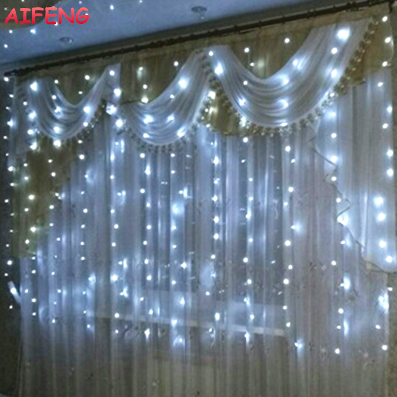 AIFENG Led String Kurtyna 3Mx1,5M 3Mx2M 3Mx3M Garland 144Led 192 Led 300Led Led String Na Boże Narodzenie Wedding Party Holiday Lights